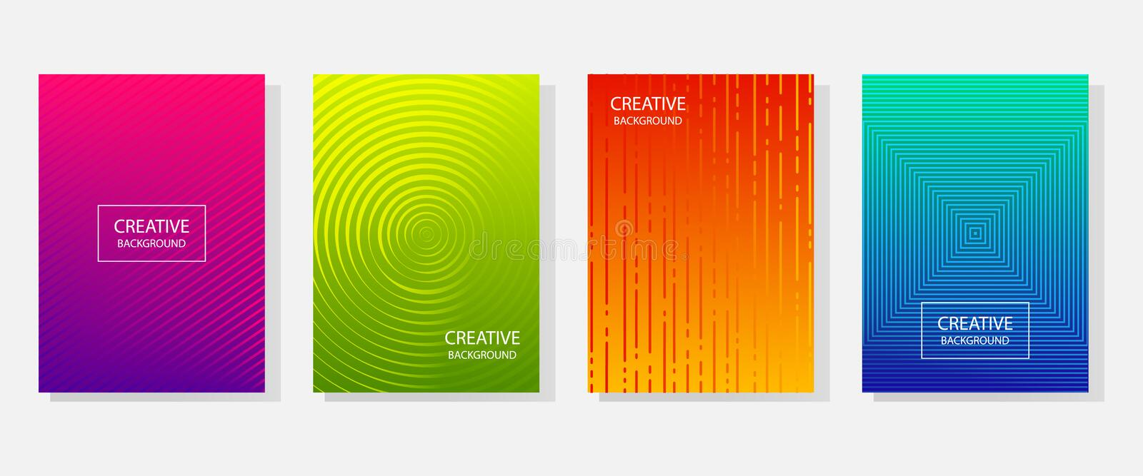 Colorful set of abstract dynamic modern bright banners with different texture, template cover design. Space for your text with. Geometric patterns. Colored stock illustration
