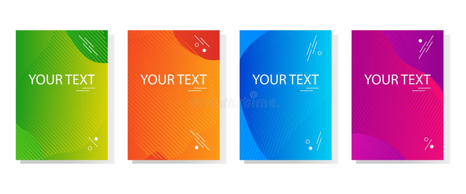 Colorful set of abstract dynamic modern bright banners, template cover design. Colored gradient. Vector illustration. Colorful set of abstract dynamic modern stock illustration