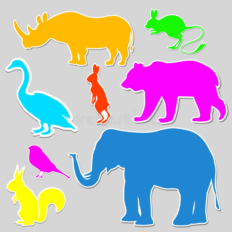 Colorful set of animals stock illustration