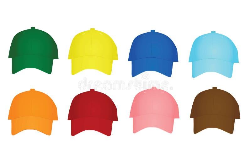 Colorful set of baseball caps royalty free illustration