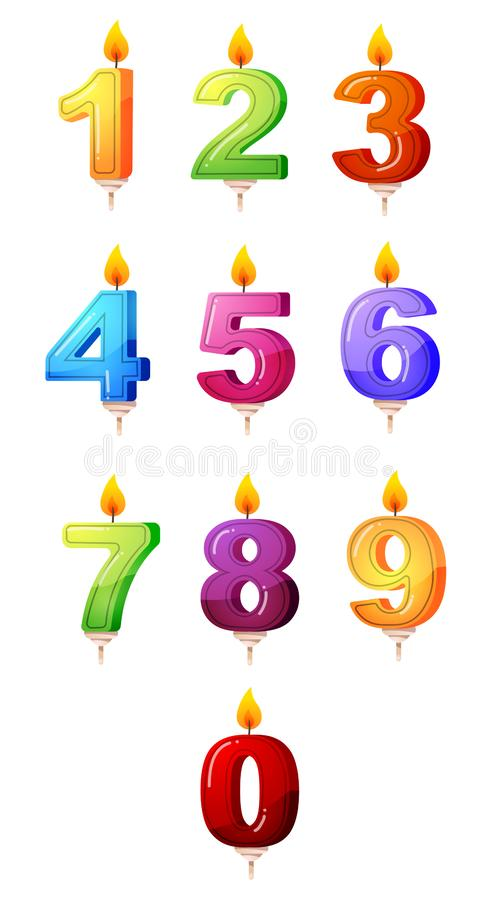 Colorful set of a birthday party, anniversary candles in the form of numbers. Clipart 3D raster illustration royalty free illustration