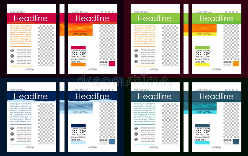 Colorful set of A4 Business Book Cover Design Templates. Good for Portfolio, Brochure, Annual Report, Flyer, Magazine, Academic J stock illustration