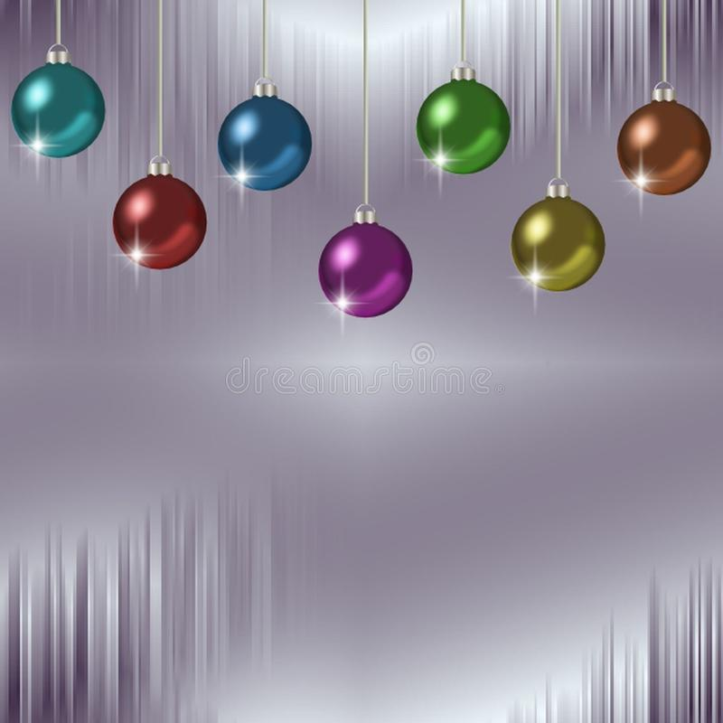 Icicles and hanging colorful set of Christmas ornaments stock illustration