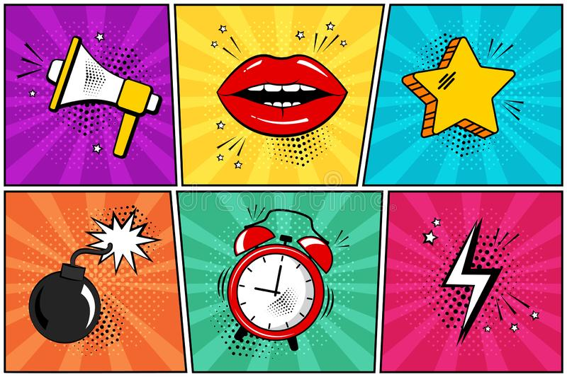 Colorful set of comic icon in pop art style. Megaphone, lips, star, bomb, alarm clock, lightning. Vector stock illustration