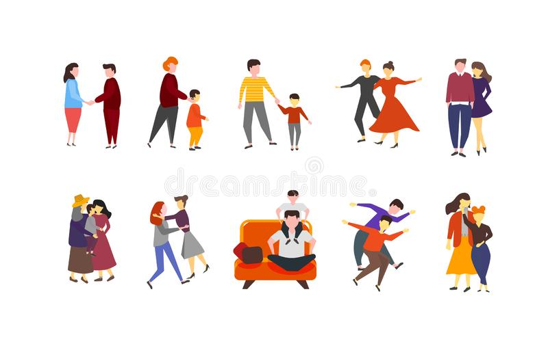 Colorful set of couples of families with kids collection. Men and woman romantic couple isolated vector illustration in cartoon. Style. Family with children stock illustration