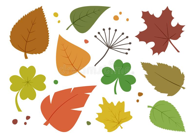 Colorful set of different autumn leaves, hand drawn. Vector. Illustration royalty free illustration