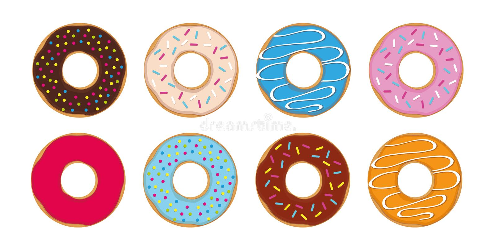 Colorful set of donuts with different sprinkles royalty free illustration