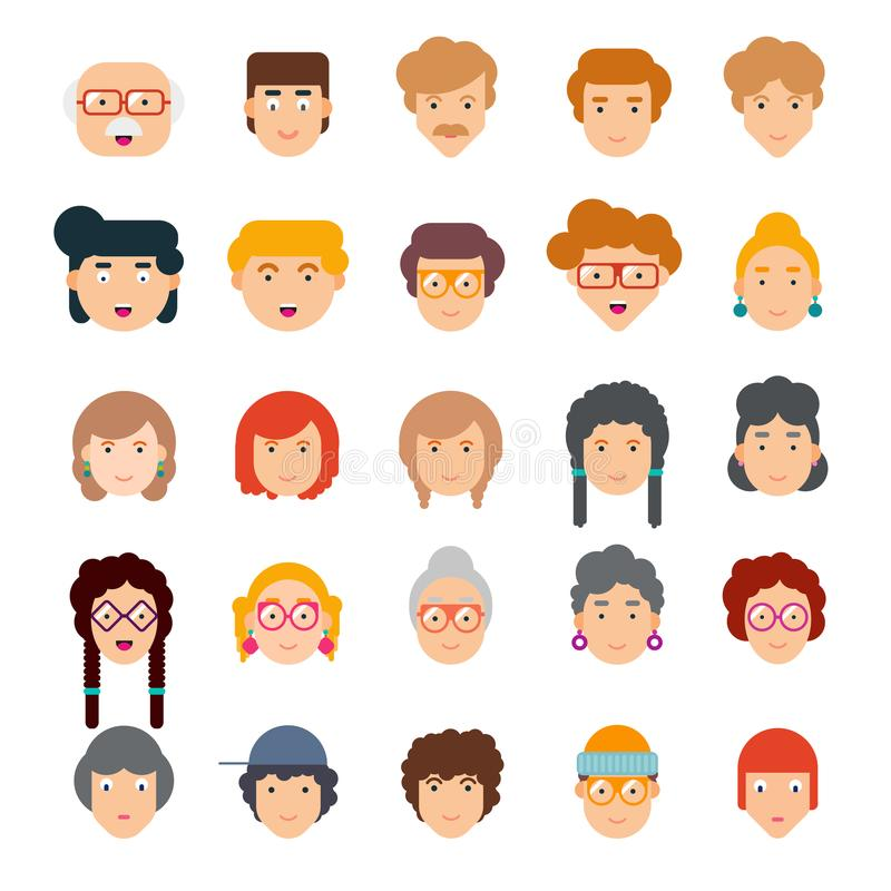 Colorful set of faces in flat design. Vector illustration of flat design people characters royalty free illustration
