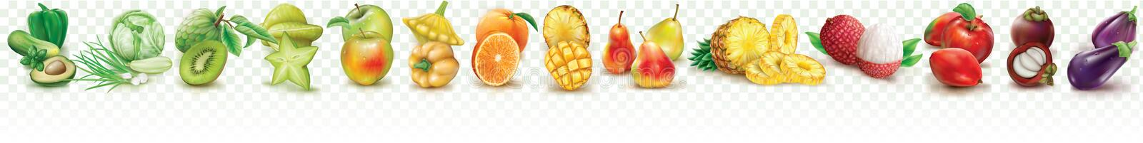 Colorful set fruits and vegetables. On a transparent background. Vector illustration stock illustration