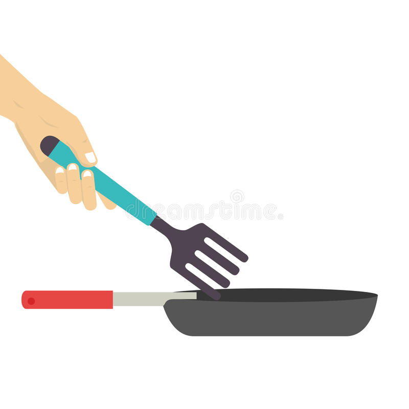 Colorful set frying pan with fork. Vector illustration stock illustration