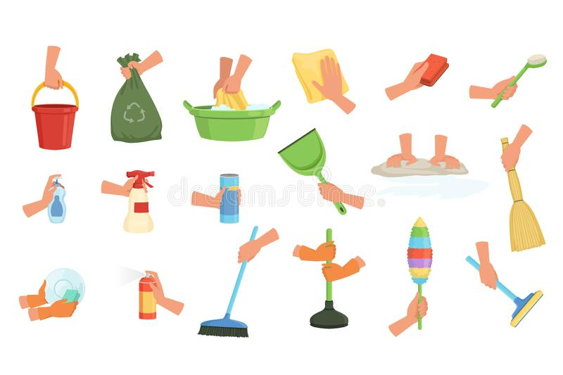 Colorful set of human hands using rag, dust brush, mop, broom, scoop and plunger. Equipment for cleaning house or car stock illustration