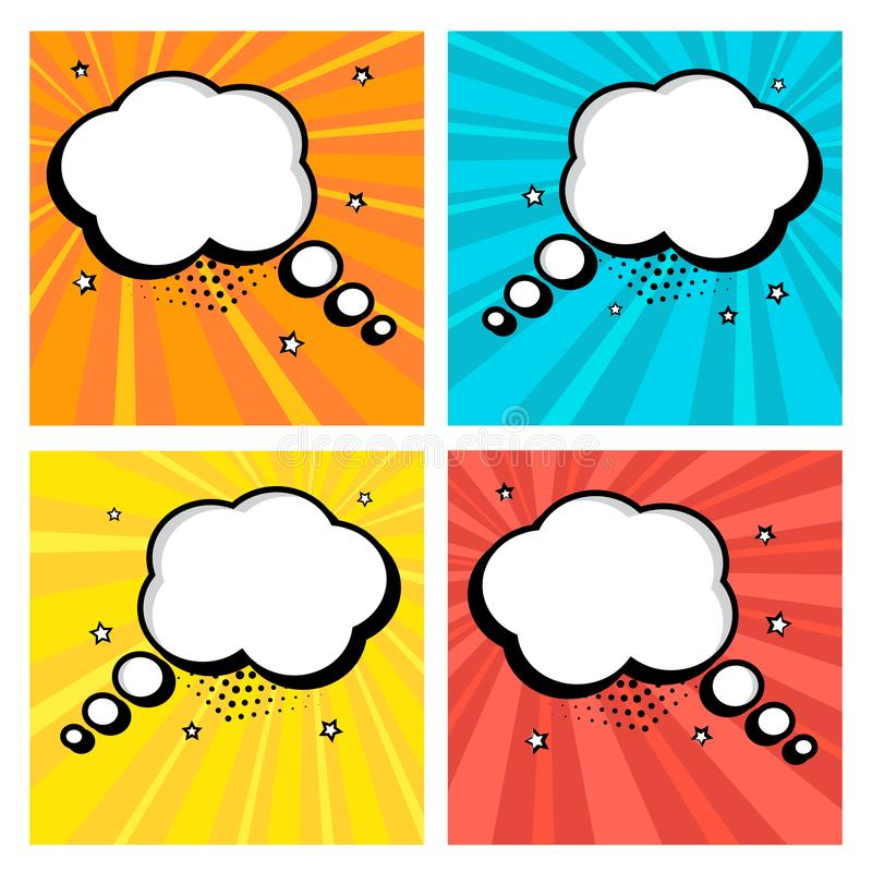 Colorful set icon of white empty speech bubbles with stars in pop art style. Comic sound effects in pop art style. Vector stock illustration