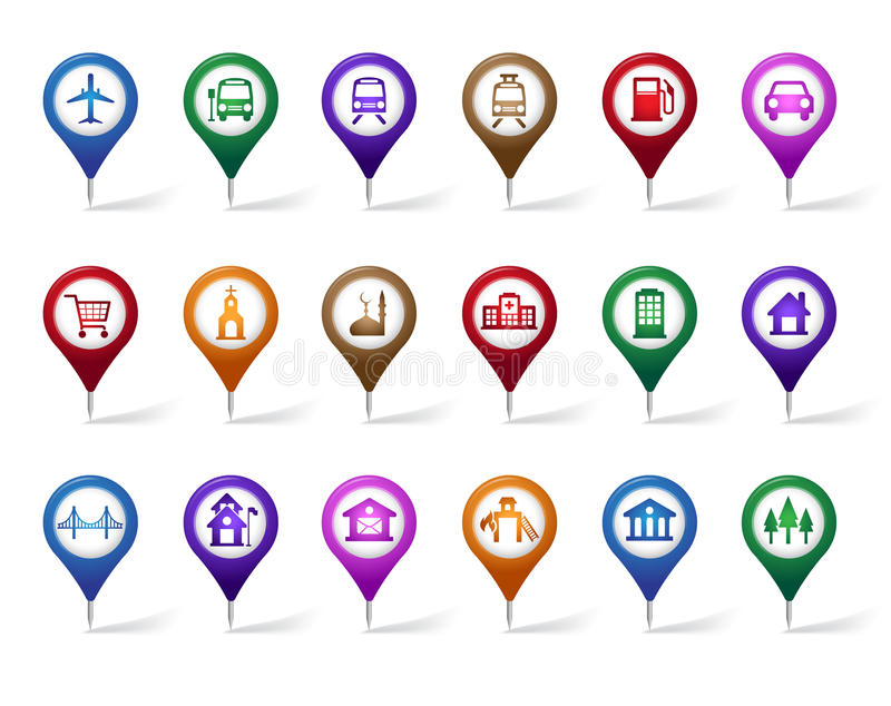 Colorful Set of Location, Places, Travel and Destination Pin Icons. And Buttons for Navigation and Maps. Vector Illustration royalty free illustration
