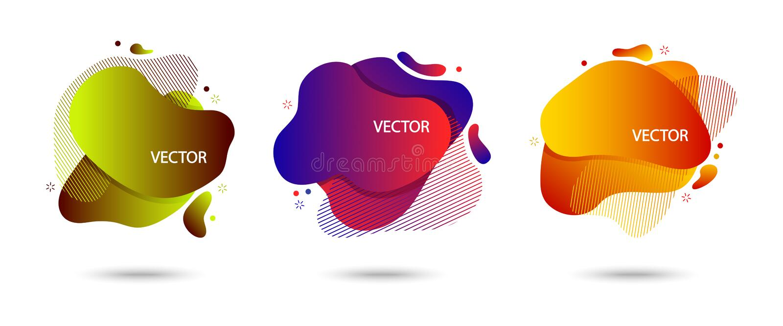 Colorful set of modern abstract banner with shadow, speech bubble different shapes, space for your text. Motion amoeba fluid,. Colored gradient. Vector stock illustration