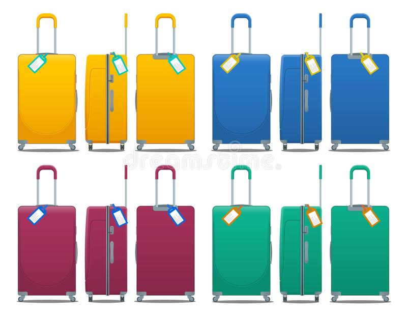 Colorful set of modern plastic suitcases with wheels, retractable handle and luggage tag label on suitcase with country stock illustration