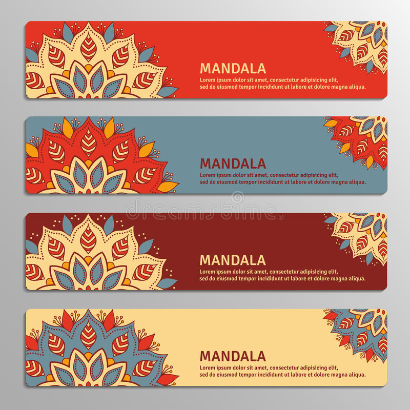 Free Colorful Set Of Ornamental Banners With Flower Mandala In Red, B Royalty Free Stock Photography - 79911117