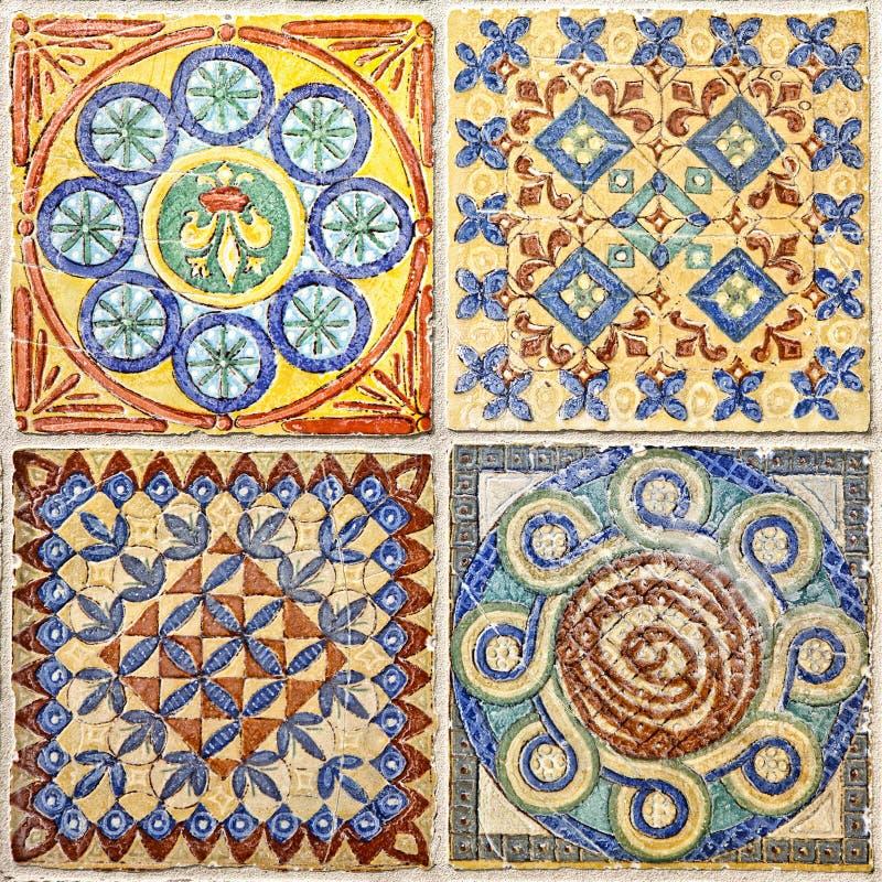 Colorful set of ornamental tiles stock image
