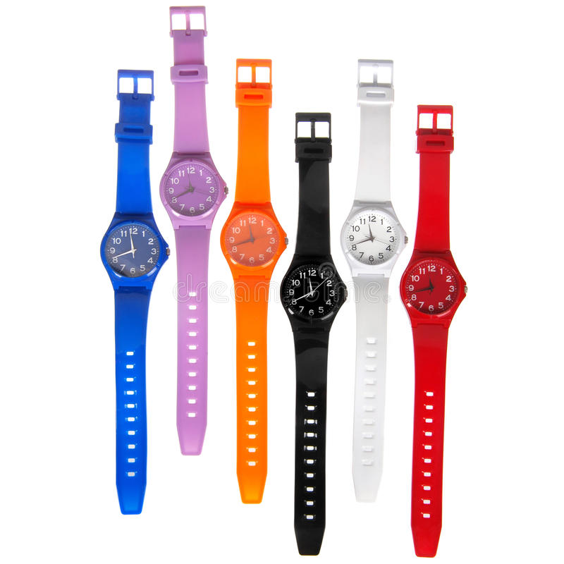 Colorful set of plastic watches stock photo