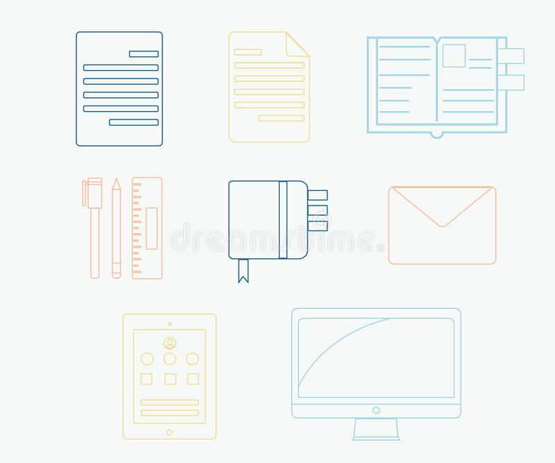 Colorful set of productivity icon vector illustration