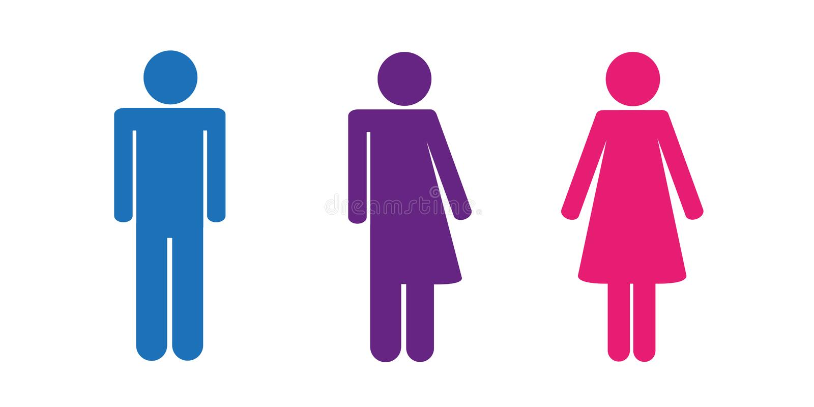 Colorful set of restroom icons including gender neutral icon pictogram vector illustration