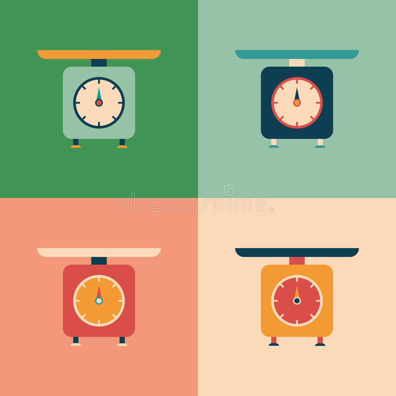 Colorful set of retro scales. stock illustration