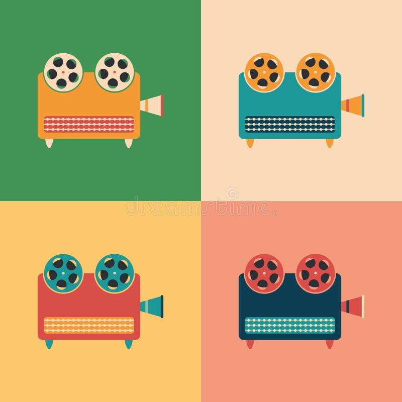 Colorful set of retro video projectors. stock illustration