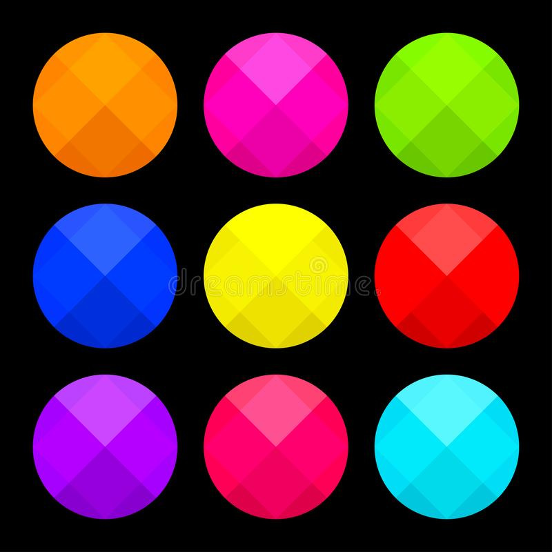 Colorful set of round buttons on black background. Vector. Illustration stock illustration
