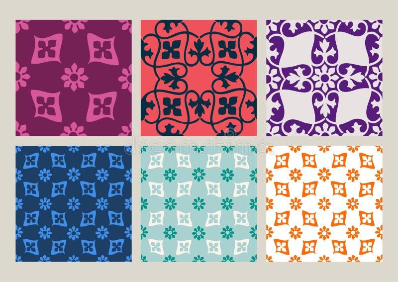 Colorful set of seamless floral patterns vintage backgrounds stock illustration