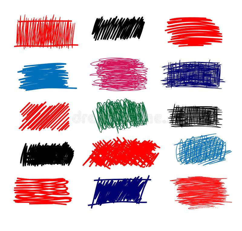 Colorful Set of simple bold hatching doodle lines, curves, frames. Pencil sketch isolated on white. Vector marker line blots set. Hand drawn black grunge stock illustration