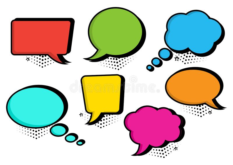 Colorful set of speech bubbles collection in pop art style. Vector illustration stock illustration