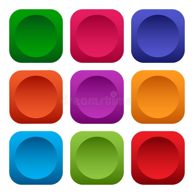 Colorful set of square push buttons. Vector. Illustration royalty free illustration