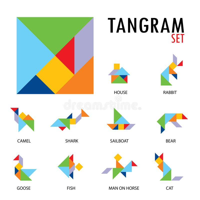 Colorful set of tangram game icons made with geometry shapes in abstract style, includes animal, vector illustration. Set of tangram game icons made with vector illustration