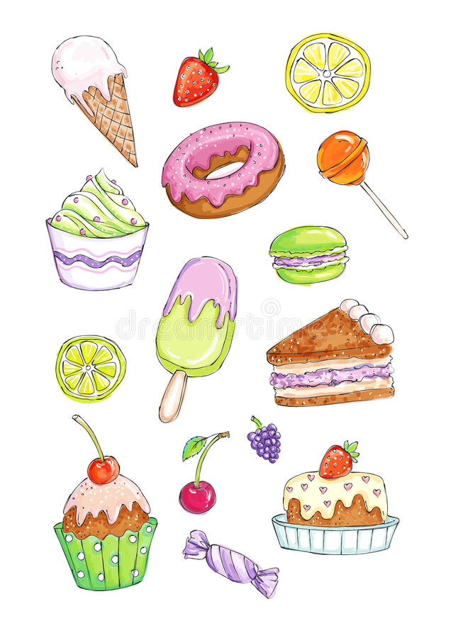 Colorful set of various desserts, cakes and sweets. Sketchy image set of sweet cakes and candies hand drawn and colored in a similar to a traditional watercolor stock illustration