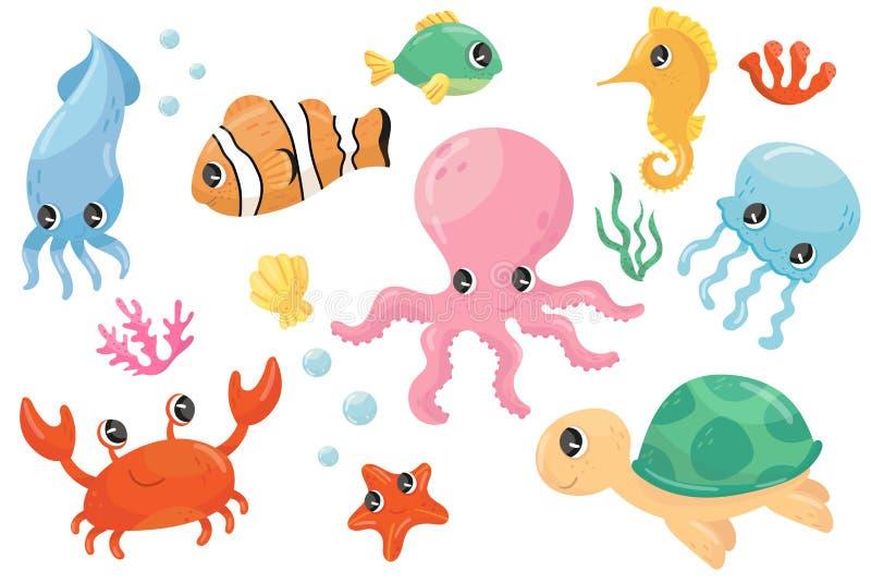 Colorful set of various sea creatures. Cartoon fish, seahorse, turtle, crab, jellyfish, octopus, seastar, seaweed. Flat. Colorful collection of various sea royalty free illustration