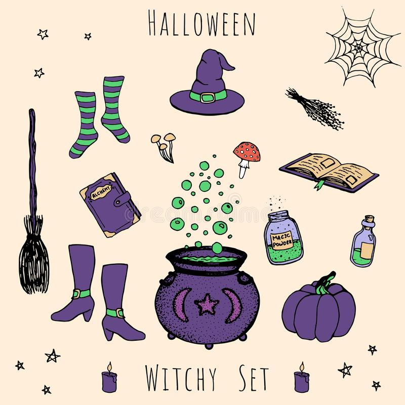 Colorful set of vector halloween elements. Includes potions, vials, herbs, books, mushrooms, cauldron. With bubbles, pumpkin, witches hat, broom, stockings and stock illustration