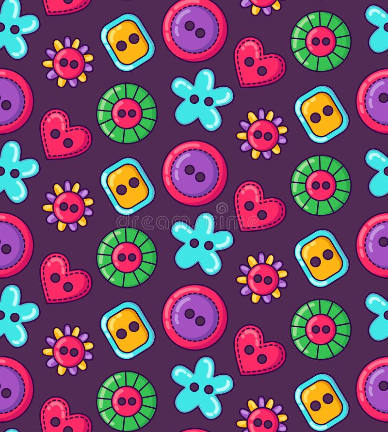 Colorful sewing buttons seamless simple vector pattern vector illustration
