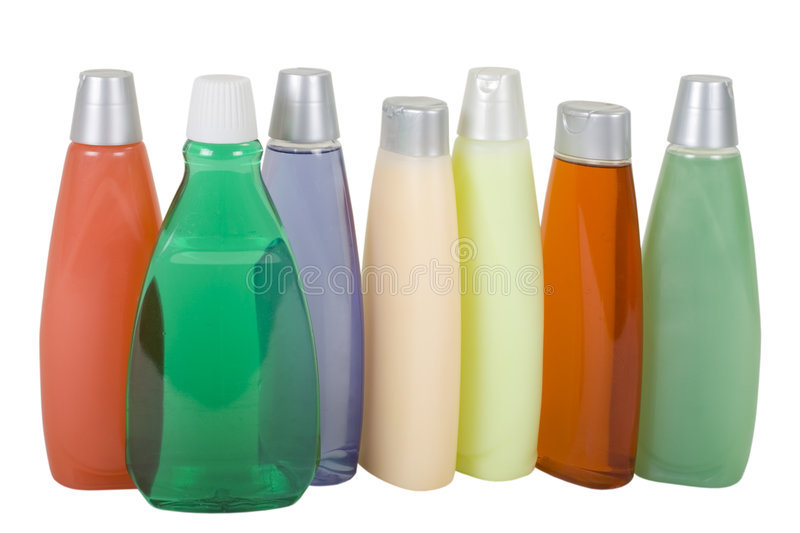 Colorful Shampoo. Bottles with Colorful Liquid Soap and Shampoo; isolated, clipping path royalty free stock photos