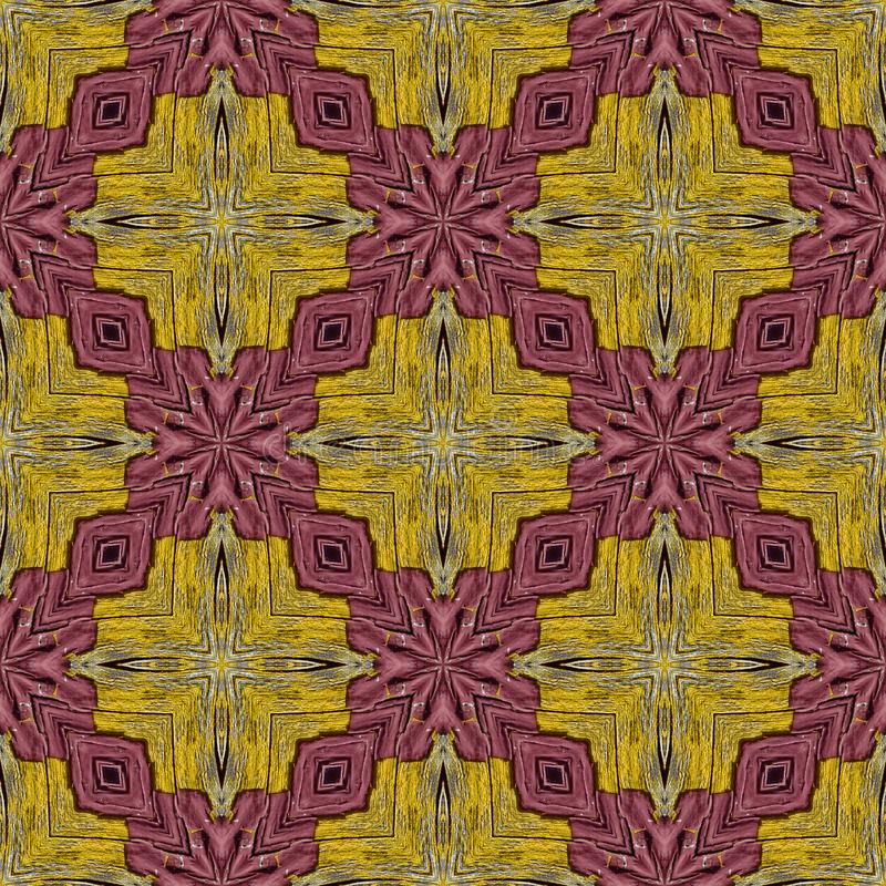 Colorful Shapes Seamless Tile for Background. Seamless Tile Reddish Colored Design on Yellow Background for your Copy royalty free stock photography