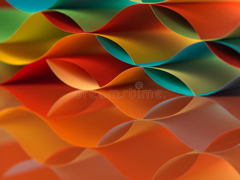 Colorful sheets paper with mirror reflexions royalty free stock photo
