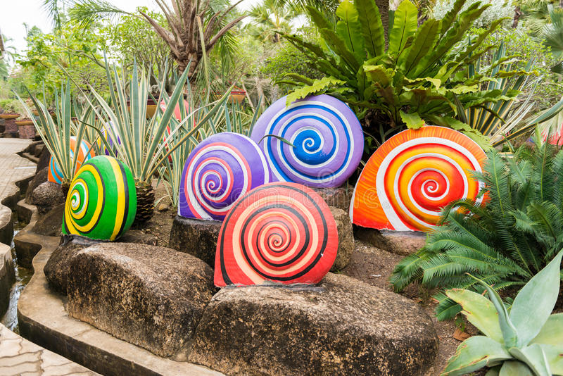 Colorful Shell sculpture decorate. In the garden royalty free stock photos
