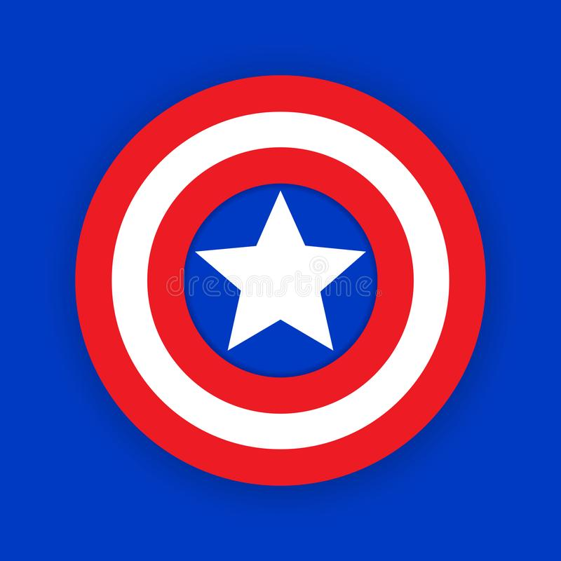 Colorful shield with a star. Shield, emblem captain america. Blank superhero badge. Vector stock illustration