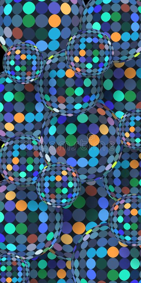 Colorful shimmer mirror mosaic balls 3d background. Blue green orange pattern on abstract spheres. Vertical banner. stock illustration