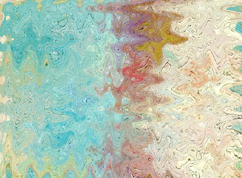 Colorful shiny clean and solid abstract background with a wavy p. Oil painting on canvas and digital technology. Colorful shiny clean and solid abstract stock illustration