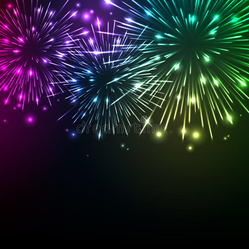 Colorful shiny realistic fireworks background. Vector illustration. Celebration holiday design royalty free illustration
