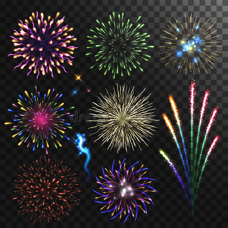 Colorful shiny realistic fireworks set. Vector illustration. Celebration holiday design stock illustration
