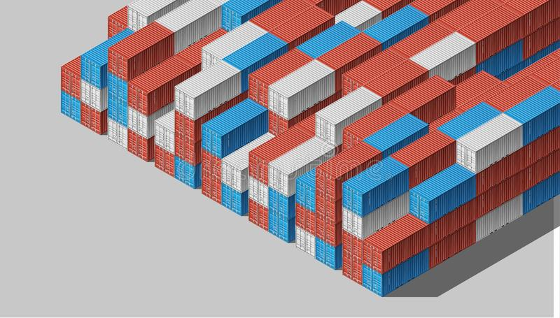 Shipping Cargo Containers for Logistics and Transportation. Colorful Shipping Cargo Containers for Logistics and Transportation. Isometric view royalty free illustration