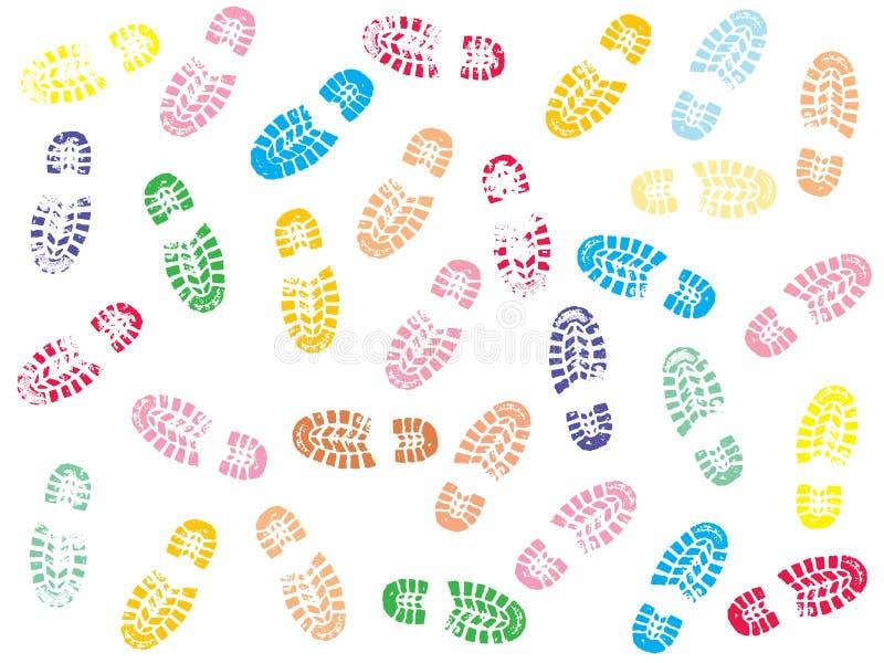 Colorful Shoe prints stock illustration