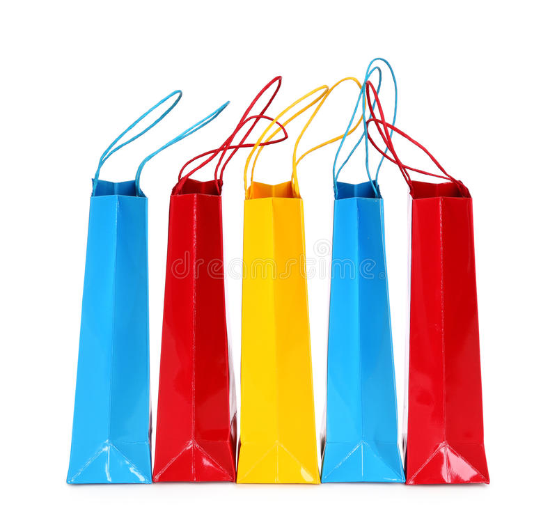Colorful shopping bags. Isolated on white background royalty free stock photo