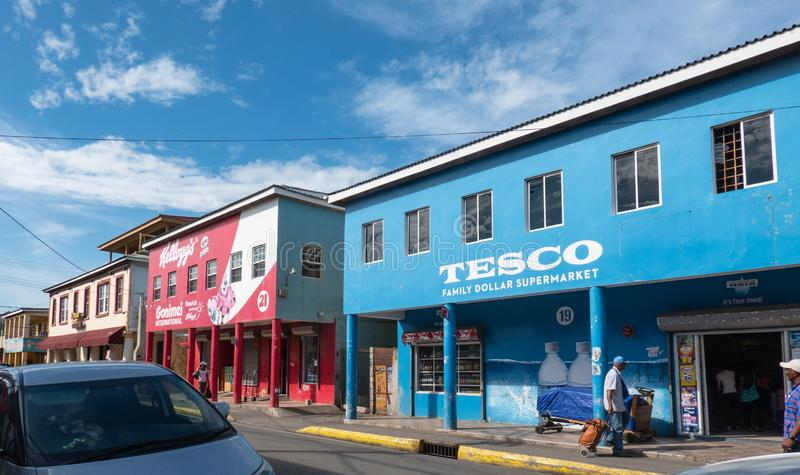 These colorful shops in Falmouth, Jamaica royalty free stock images