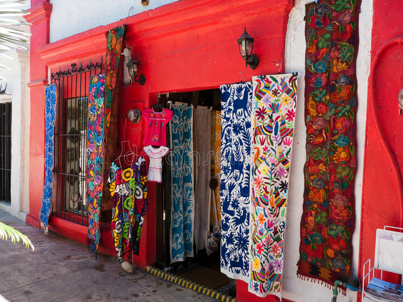 Colorful shops in small town Mexico stock photography